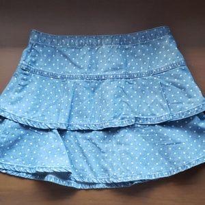 CRAZY 8 Chambray Denim Dot Ruffle Skirt